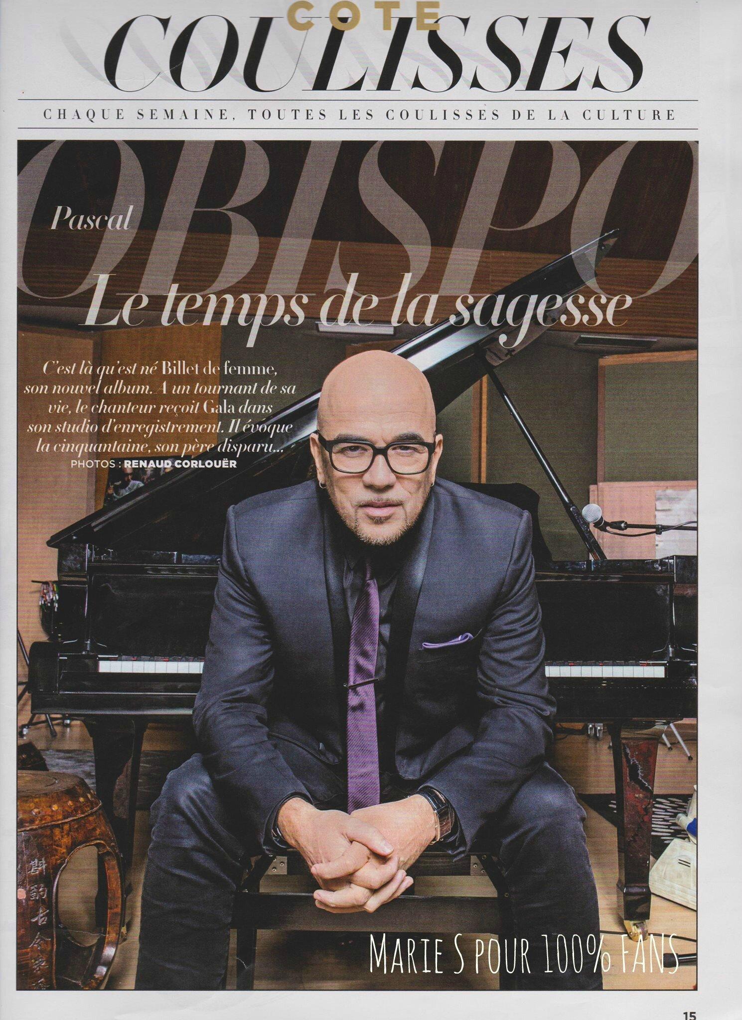 """Pascal Obispo """"Le temps de la sagesse"""" Gala du 3 février 2016"""