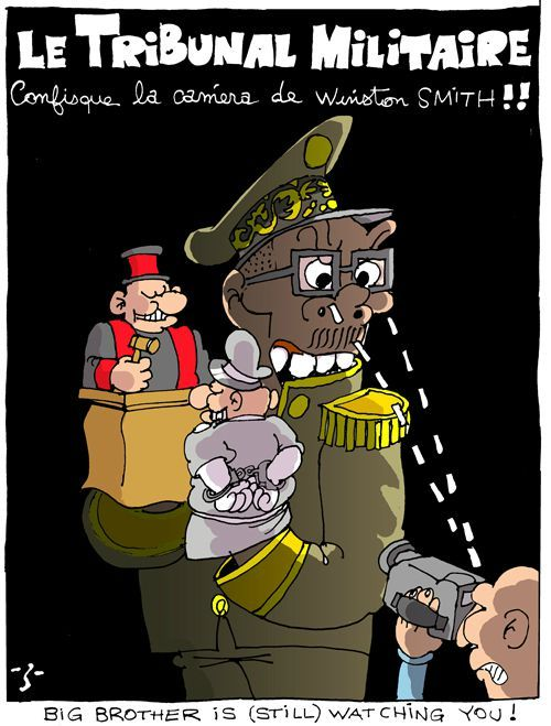 A cartoon in which the military holds police and judges as puppets.