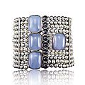 Corrado giuspino pearl, chalcedony, tanzanite and diamond bracelet