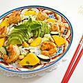 Salade de shirataki de konjac, mangue, crevettes & cacahuètes