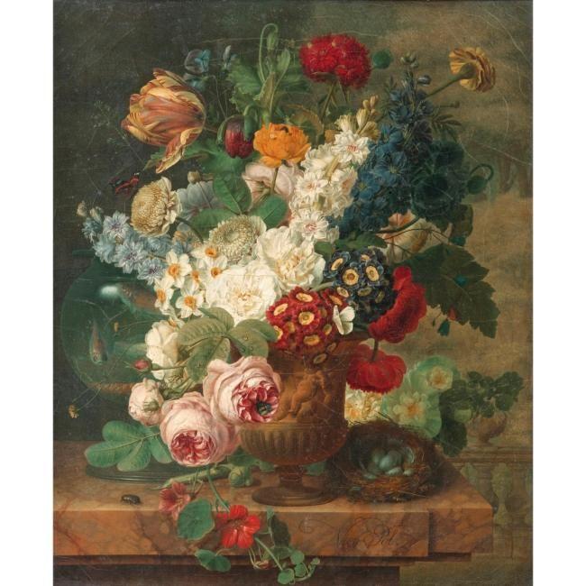 tableau fleurs ancien