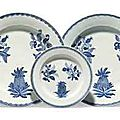 Three Chinese Export blue and white botanical dishes. Mid-18th century