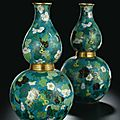 An exceptional pair of large cloisonne 'double-gourd' vases. seal marks and period of qianlong
