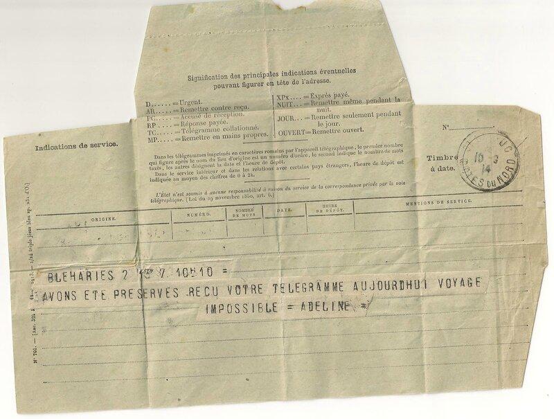Telegramme de Bleharies 1918