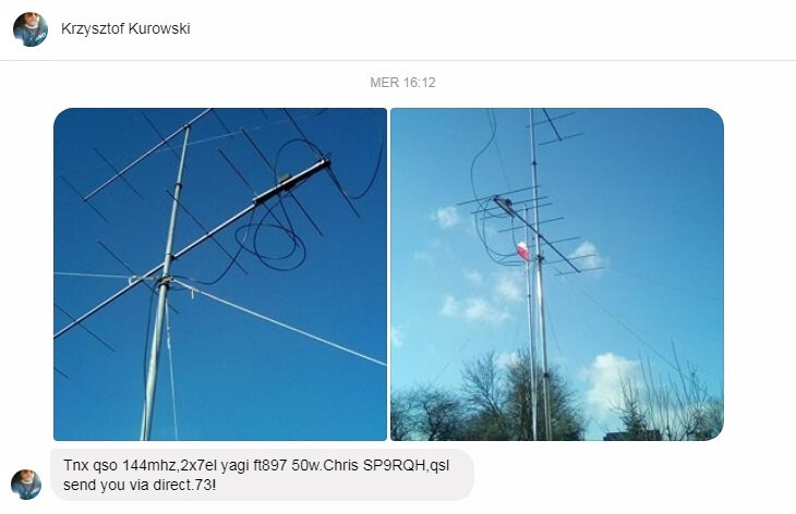 SP9RQH confirmation qso 2m