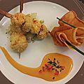 Brochettes croustillantes langoustines-champignons