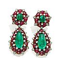 A pair of emerald, ruby and diamond ear pendants, by bulgari