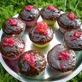 Cupcakes chocolat fraise framboise pépites de chocolat