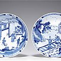 A pair of large blue and white dishes, Kangxi period (1662-1722)