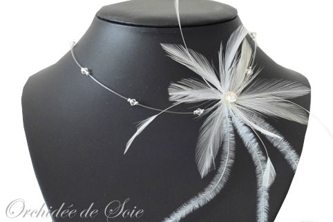 bijoux mariage collier mariee plumes collier plumetis