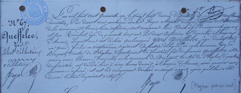 18410727 Acte de décès de Yves Q à Ancenis Famille Pleyben Penancoat