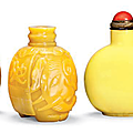 Six opaque yellow glass snuff bottles, 19th century