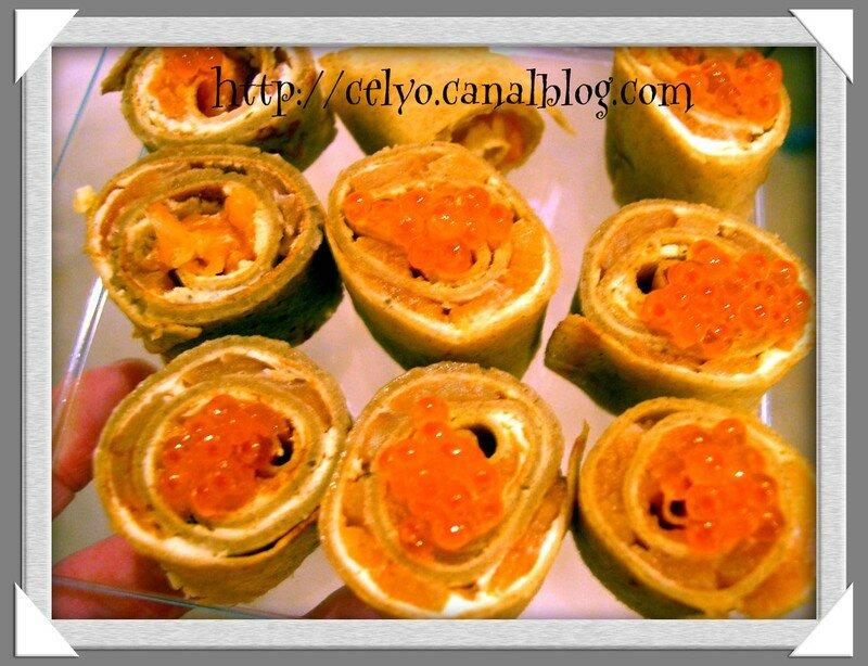 apéritif dinatoire du réveillon - crêpes de sarrasin roulés au