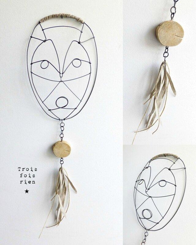 masque fil de fer N°2B, wire mask, fil de fer, wire, trois fois rien