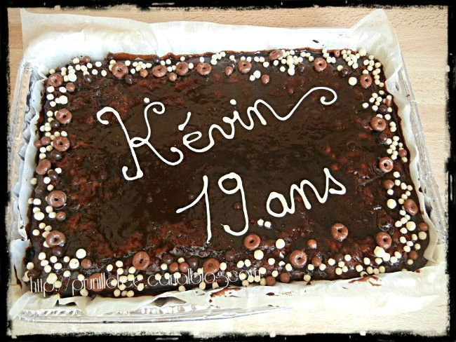 brownie écriture chocolat blanc