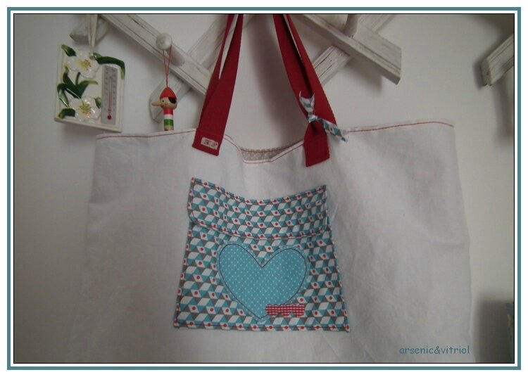 poche sac cabas turquoise