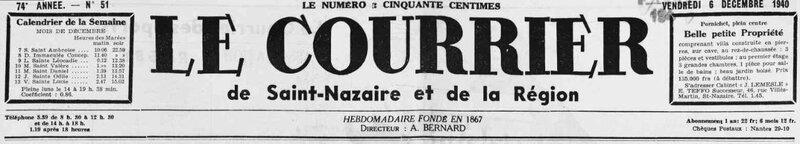 1940 le 6 décembre Courrier de Saint-Nazaire et de la Région_1