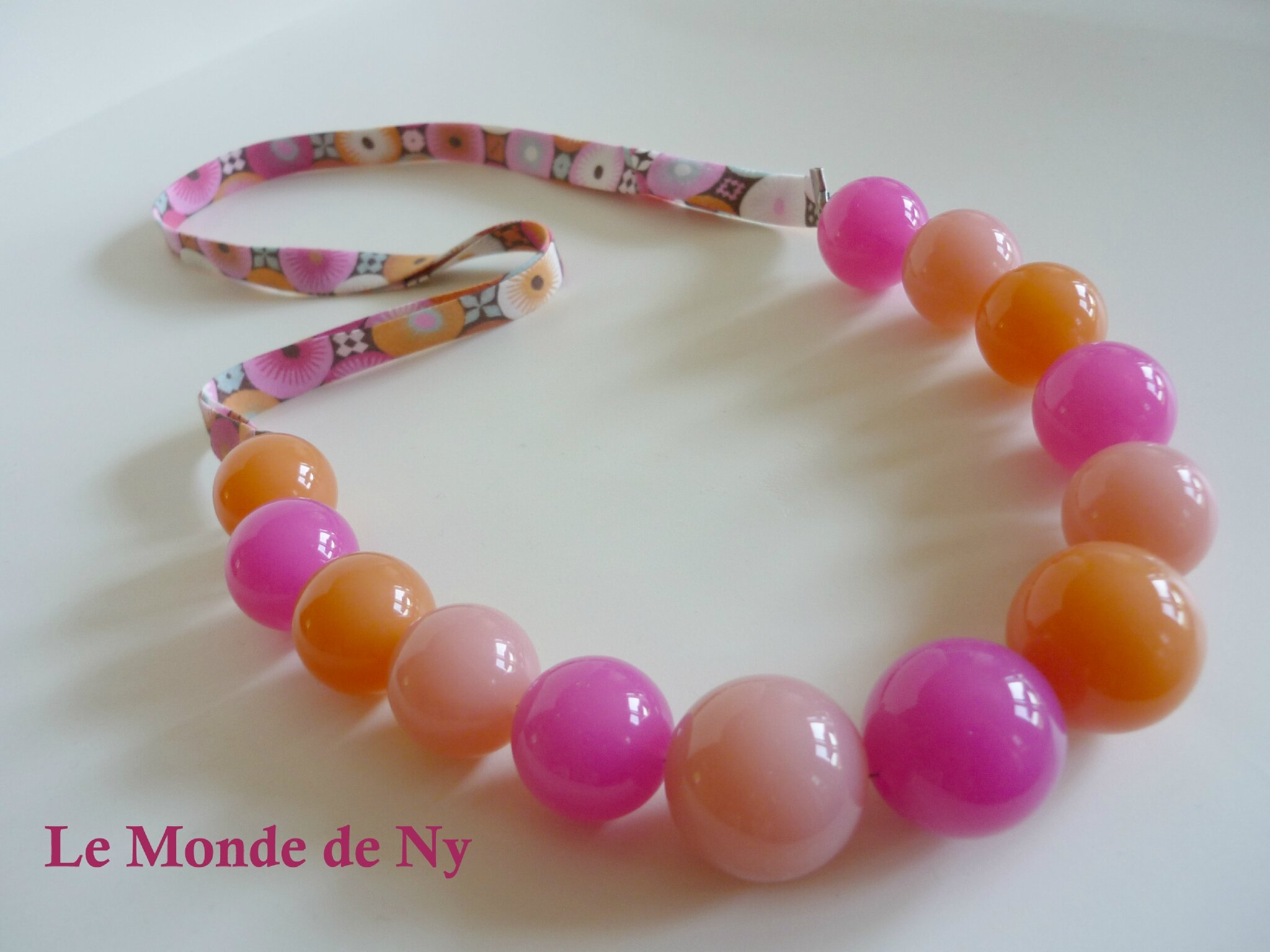 COLLIER PERLE ACIDULE ROSE ORANGE RUBAN 1a