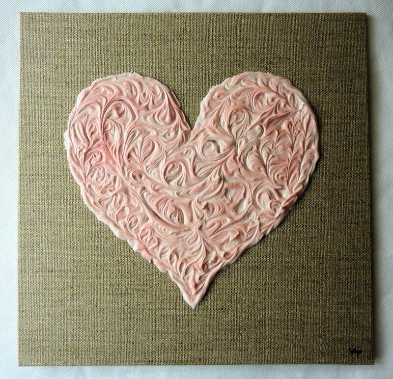 coeur arabesque sur lin