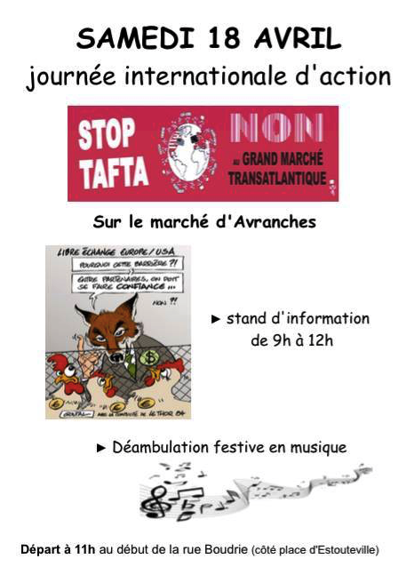 Stop TAFTA Sud Manche flyer Avranches animation 18 avril 2015