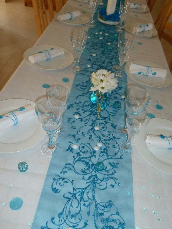 Top Turquoise et blanc - Photo de Décoration de table - Maman s'éclate ! LB57