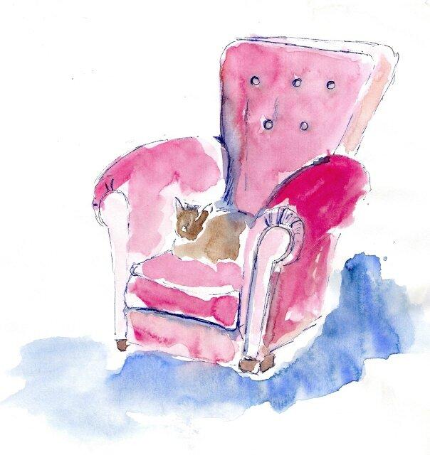 9 scène d'intérieur - fauteuil-rouge