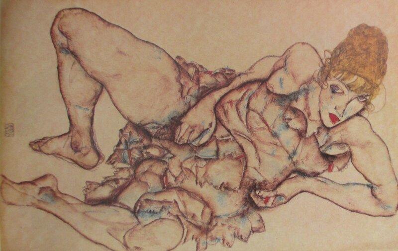 Femme blonde couchée 1914 Schiele
