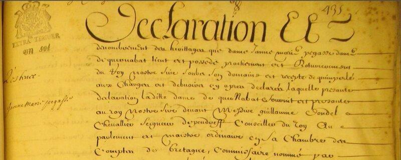 Terrier de Quimperle année 1697_1
