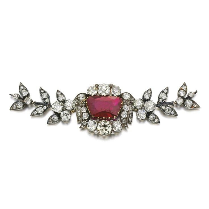 Fine ruby and diamond fragment of a jewel, assembled in 1921