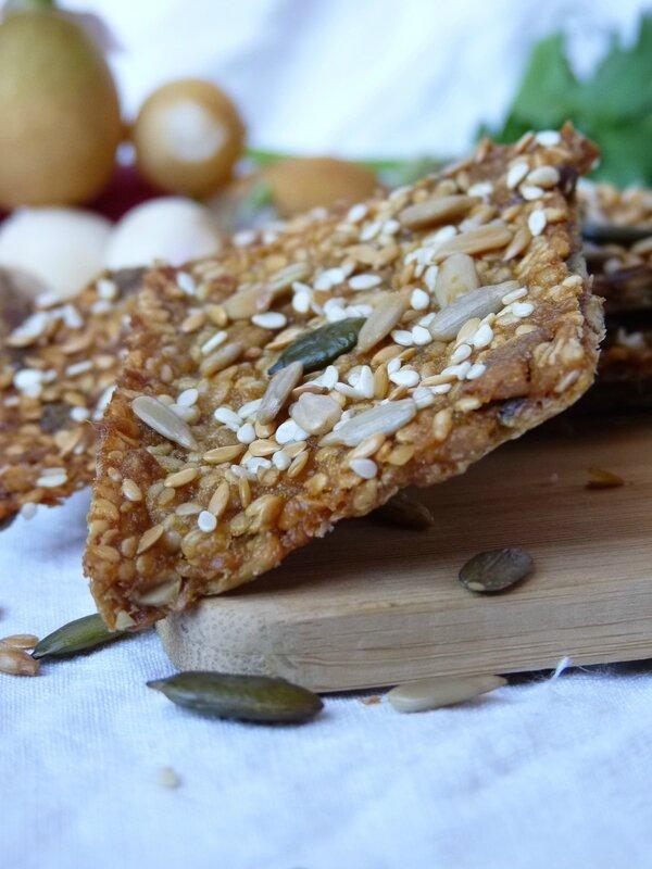 Crackers aux graines, jus d'orange et miel