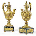A pair of late Louis XVI ormolu and verde antico ewers, circa 1790-1800