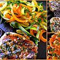 Brochettes de filet mignon et tagliatelles de légumes