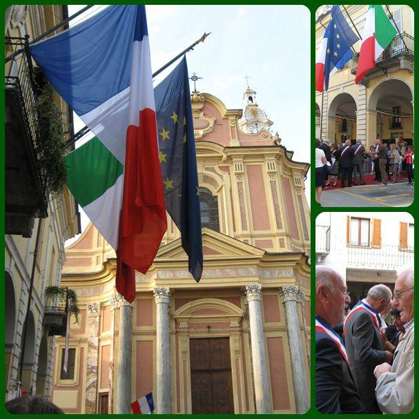 Arrivée devant la mairie de Caraglio