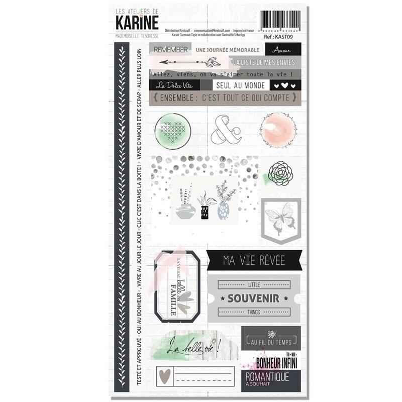 Les Ateliers de Karine Mademoiselle Tendresse stickers 15x30