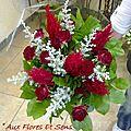 Bouquet Rond Simple Bordeaux et Gris