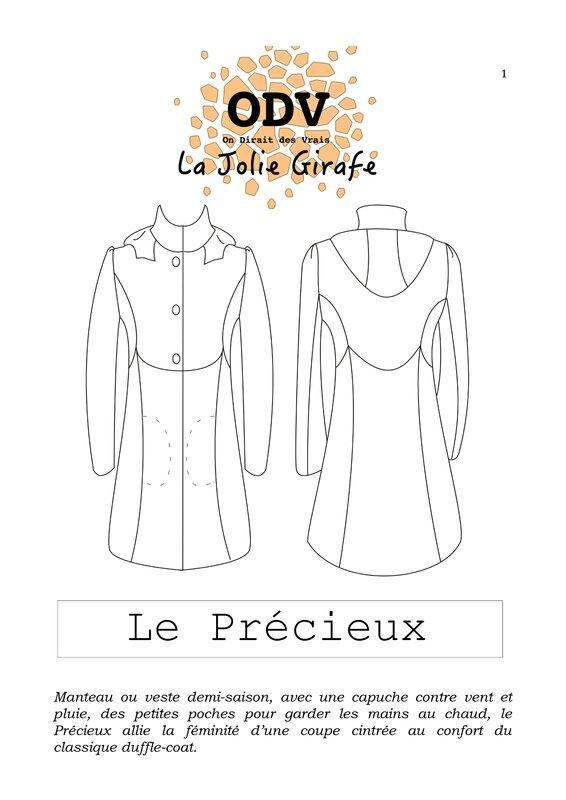 manteau Le Précieux dessin technique