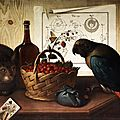 sebastiano lazzari, 1730 verona. still life with cat and parrot