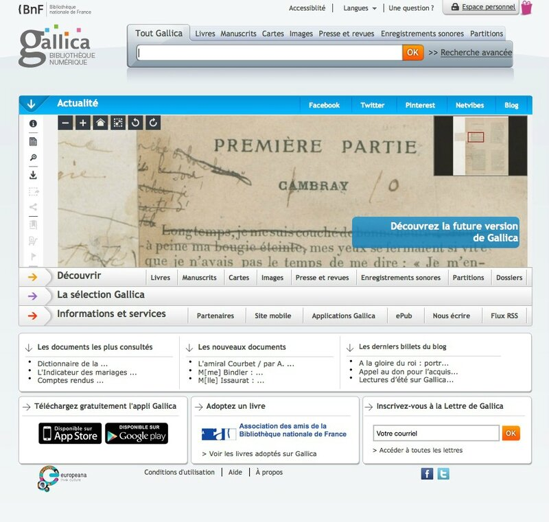 Gallica page d'accueil