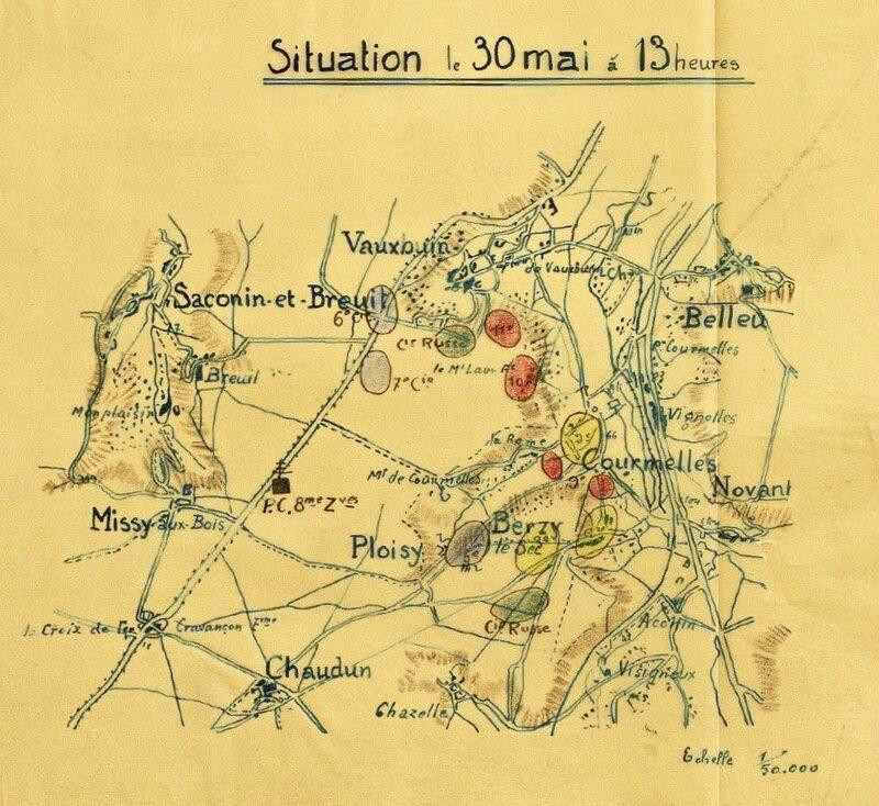 JMO 8e Zouaves croquis 30 mai 1918 13h