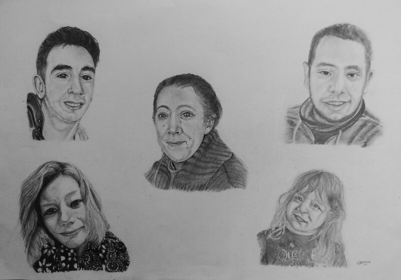 Famille Canipet, format 40 x 50 cm, graphite