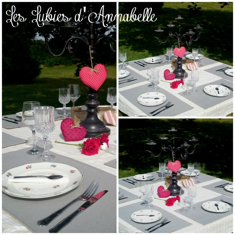 Lot 6 set de table + 3 coeurs campagne chic