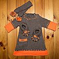 Ensemble bébé fille orange et marron