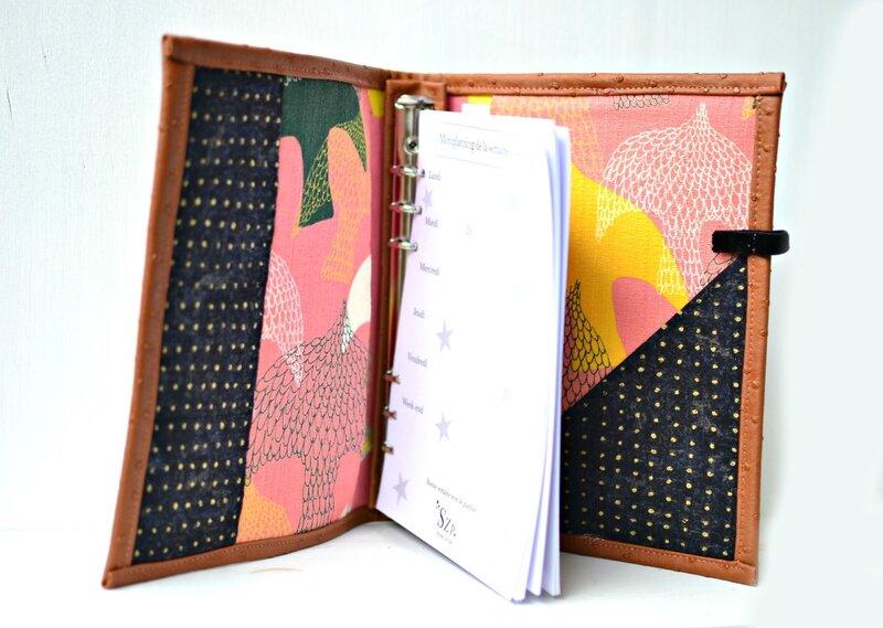 planner a5 original corail, noir et argile, classeur A5 simili cuir, planner femme, organiseur A5