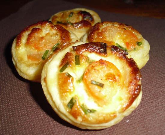 Mini quiche crevette parmesan aur lie cuisine - Moule mini quiche ...