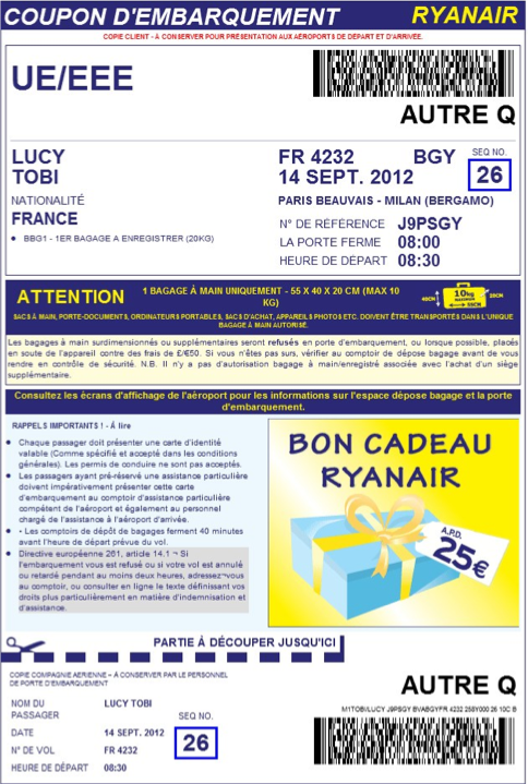 Ryanair impression coupon d'embarquement