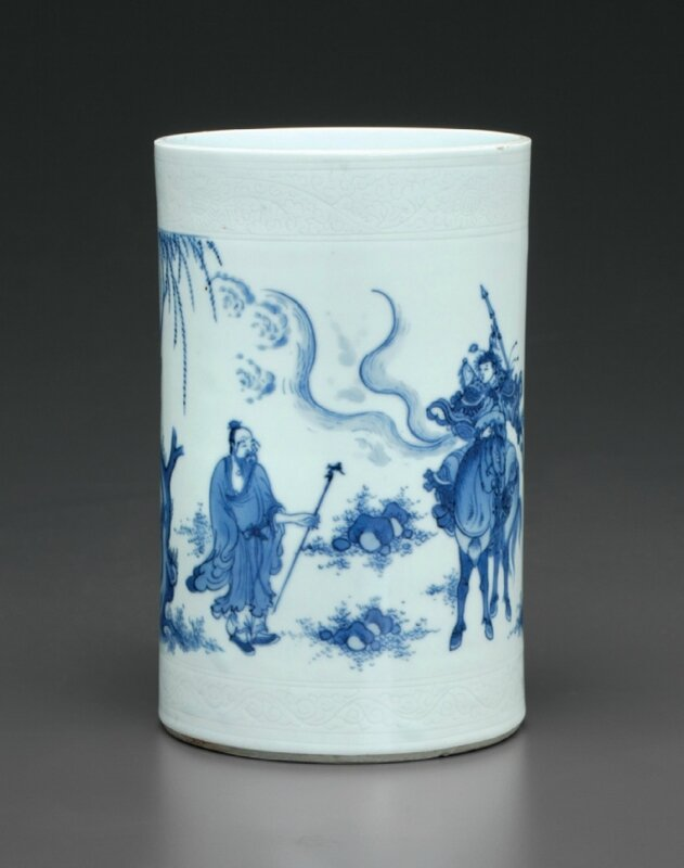 A blue and white brush pot, Chongzhen period, circa 1640