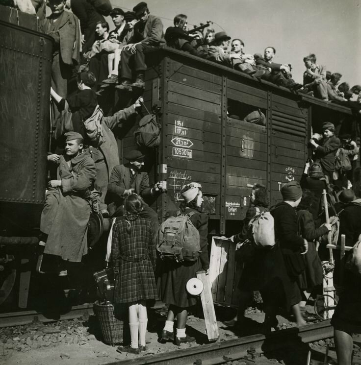 Margaret Bourke-White waiting to depart from Anhalter Bahnhof, Berlin, Germany) August 1945