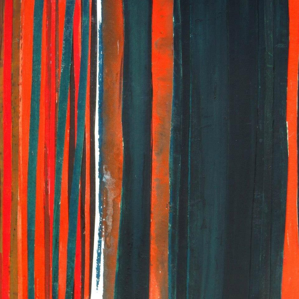 Forêt #20, 2011, acrylique, collage et coulures sur papier, 45 x 32 cm