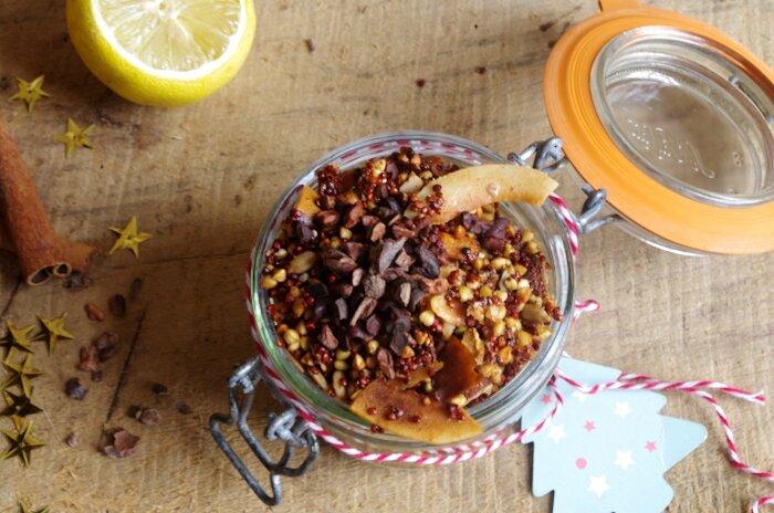 Granola sans gluten cacao cru & citron au quinoa rouge