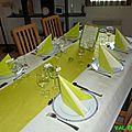 Table ivoire et vert anis